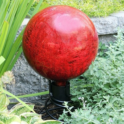 "Crackle Glass Gazing Globe Red 6"" (Stand sold separately)"