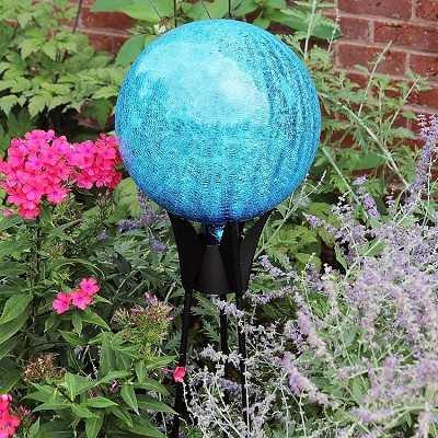 Crackle Glass Gazing Globe Teal 6""
