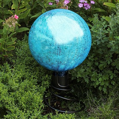 "Crackle Glass Gazing Globe Teal 10"" (Stand sold separately)"
