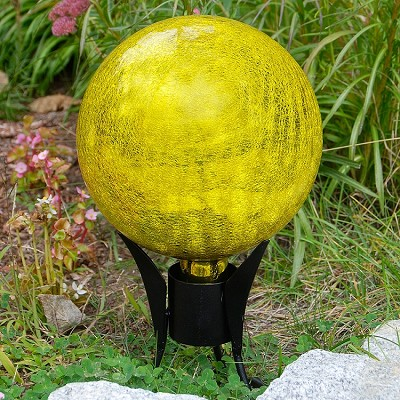 "Crackle Glass Gazing Globe Lemon Drop 12"" (Stand sold separately)"