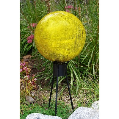 "Crackle Glass Gazing Globe Lemon Drop 6"" (Stand sold separately)"