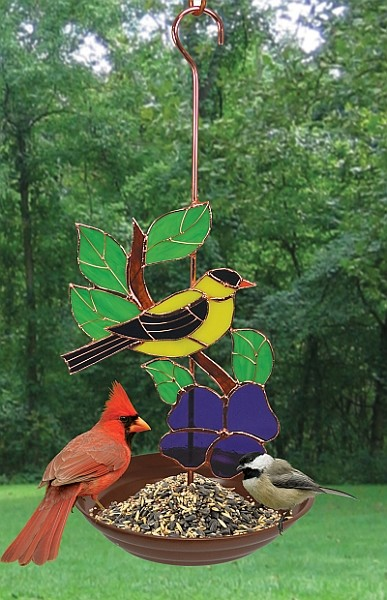 Goldfinch Stained Glass Bird Feeder