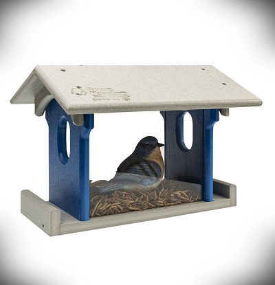 Amish Recycled Poly Bluebird Feeder Small Light Gray/Blue