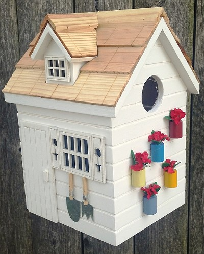 Home Bazaar Nestling Series Potting Shed Bird House White
