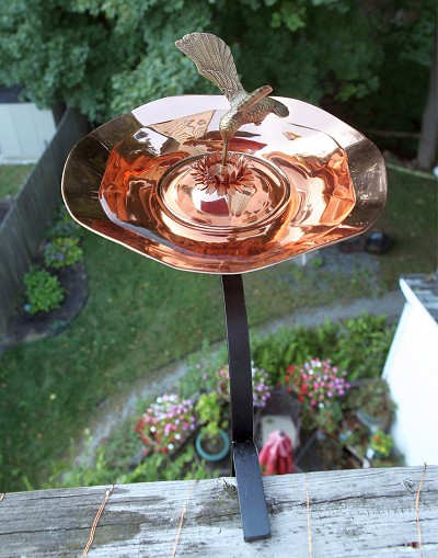 Achla Copper Hummingbird Birdbath with Rail Bracket