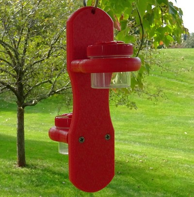 Double Hanging Nectar Dots Hummingbird Feeder Red-on-Red