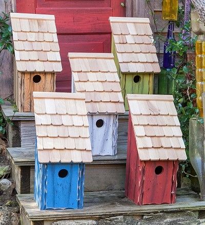 Bluebird Bunkhouse Birdhouse available in five rustic wash colors!