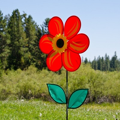Red Sunflower with Leaves 19 inch Spinner