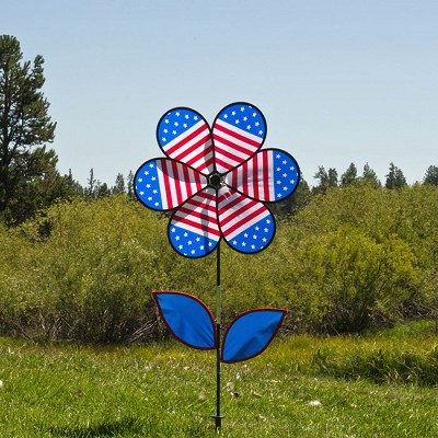 Patriotic Flower w/Leaves 19 inch Spinner