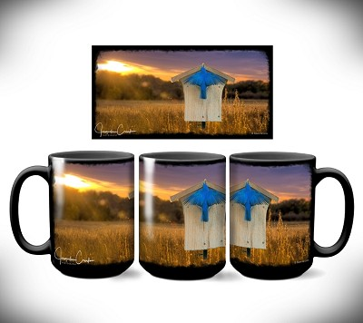 Bluebird Sunset Coffee Mug 15 oz. Set of 2