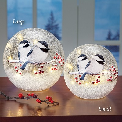 Crackle Glass LED Globe Chickadee Pair Set of 2