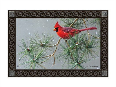 Winter Red Bird MatMate Doormat