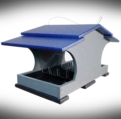 Recycled Poly Large Capacity Hopper Feeder Blue/Gray