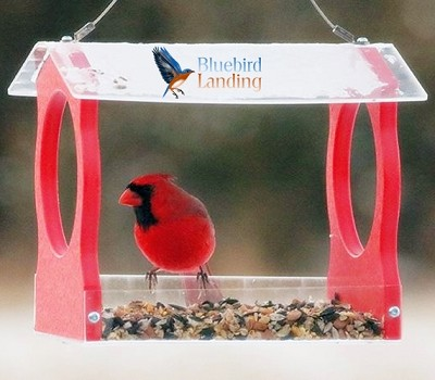 Recycled Poly Fly-Through Hopper Feeder Small Red