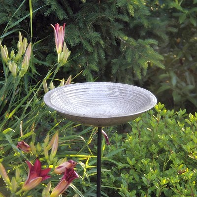 Alcyon Circles Staked Bird Bath Sandy Granite