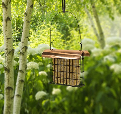 Single Suet Cage w/Copper Roof Set of 2