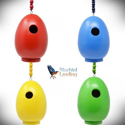 Egg Shaped Bird Houses Assorted Colors Set of 4