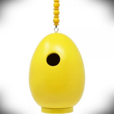 Yellow Egg Shaped Bird House