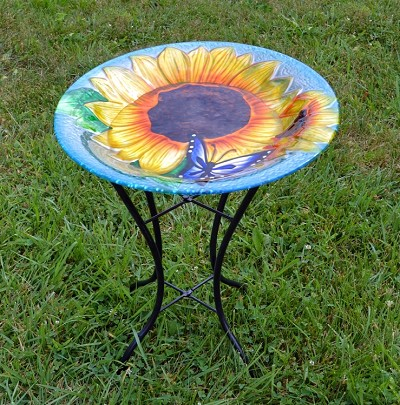 Blooming Sunflower Embossed Glass Birdbath with Stand