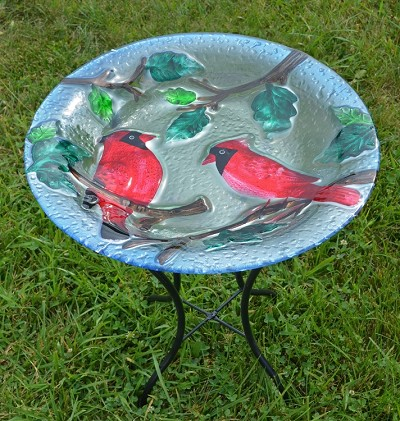 Perching Cardinals Embossed Glass Birdbath with Stand