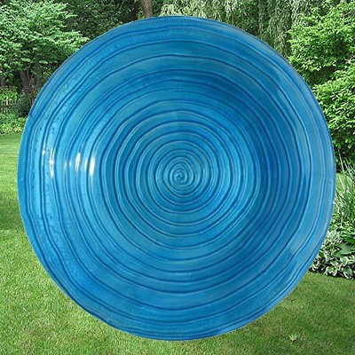 Blue Swirls Embossed Glass Birdbath