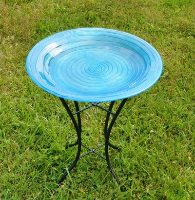 Blue Swirls Embossed Glass Birdbath with Stand