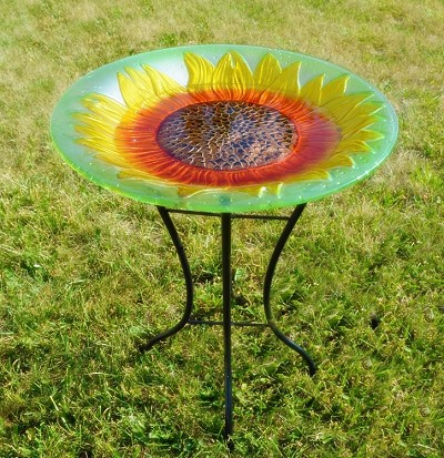 Sunflower Embossed Glass Birdbath with Stand