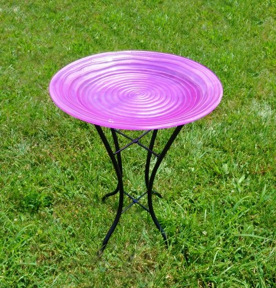 Magenta Swirl Embossed Glass Birdbath with Stand