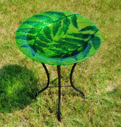 Leaf Vines Embossed Glass Birdbath with Stand