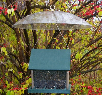 "Recycled Plastic Large 2.5 qt. Hopper Feeder with 20"" Hanging Baffle"