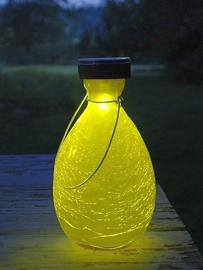 Solar Crackle Glass Teardrop Lantern Yellow