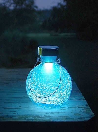 Solar Crackle Glass Goblet Lantern Teal
