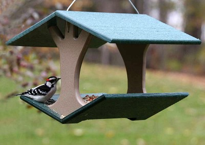 Recycled Plastic Hanging Fly-Through Bird Feeder w/Removable Tray