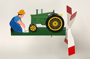 Classic Antique Tractor Green Whirligig